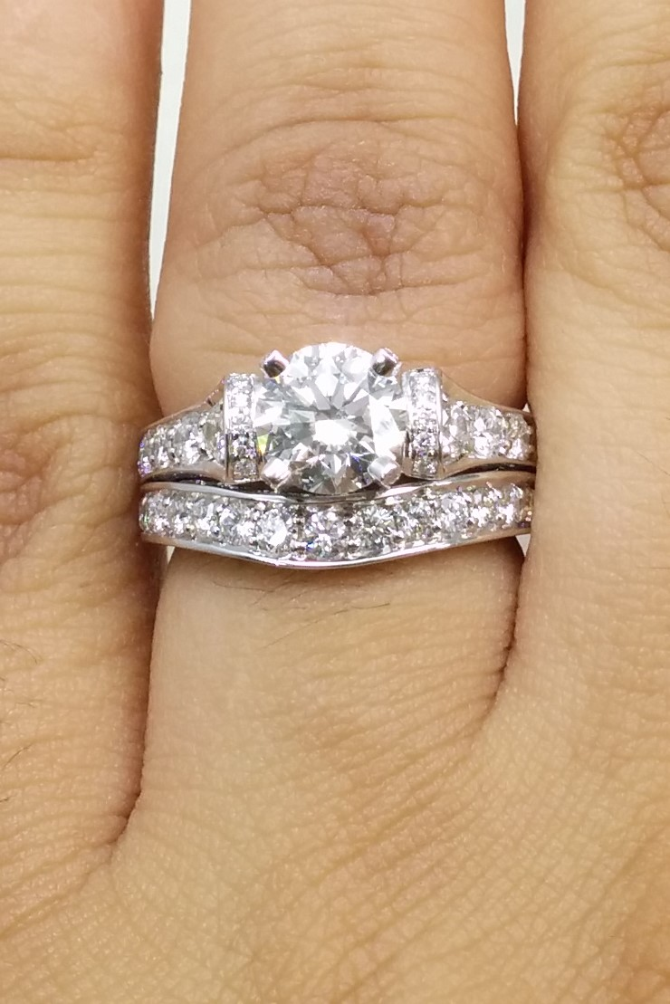 Engagement Ring Large Cathedral Graduated Pave Diamond Engagement