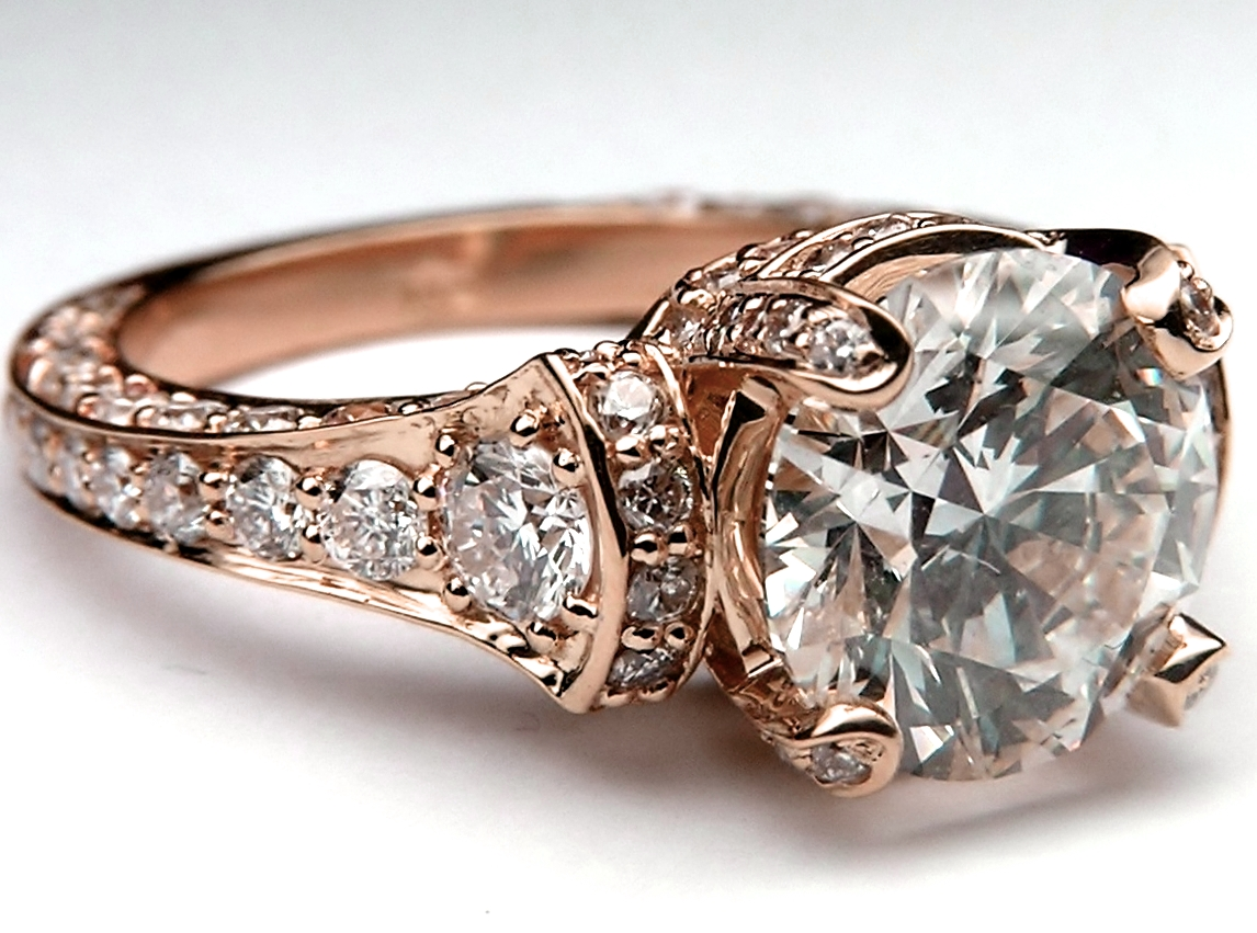 Large Engagement Ring, Graduated Diamonds In Rose Gold