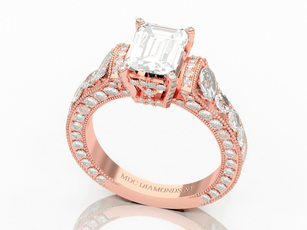 Large Emerald Cut Diamond Cathedral Graduated Pave Engagement Ring 1.25 tcw. In 14K Rose Gold
