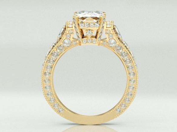 Large Emerald Cut Diamond Cathedral Graduated Pave Engagement Ring 1.25 tcw. In 18K Yellow Gold