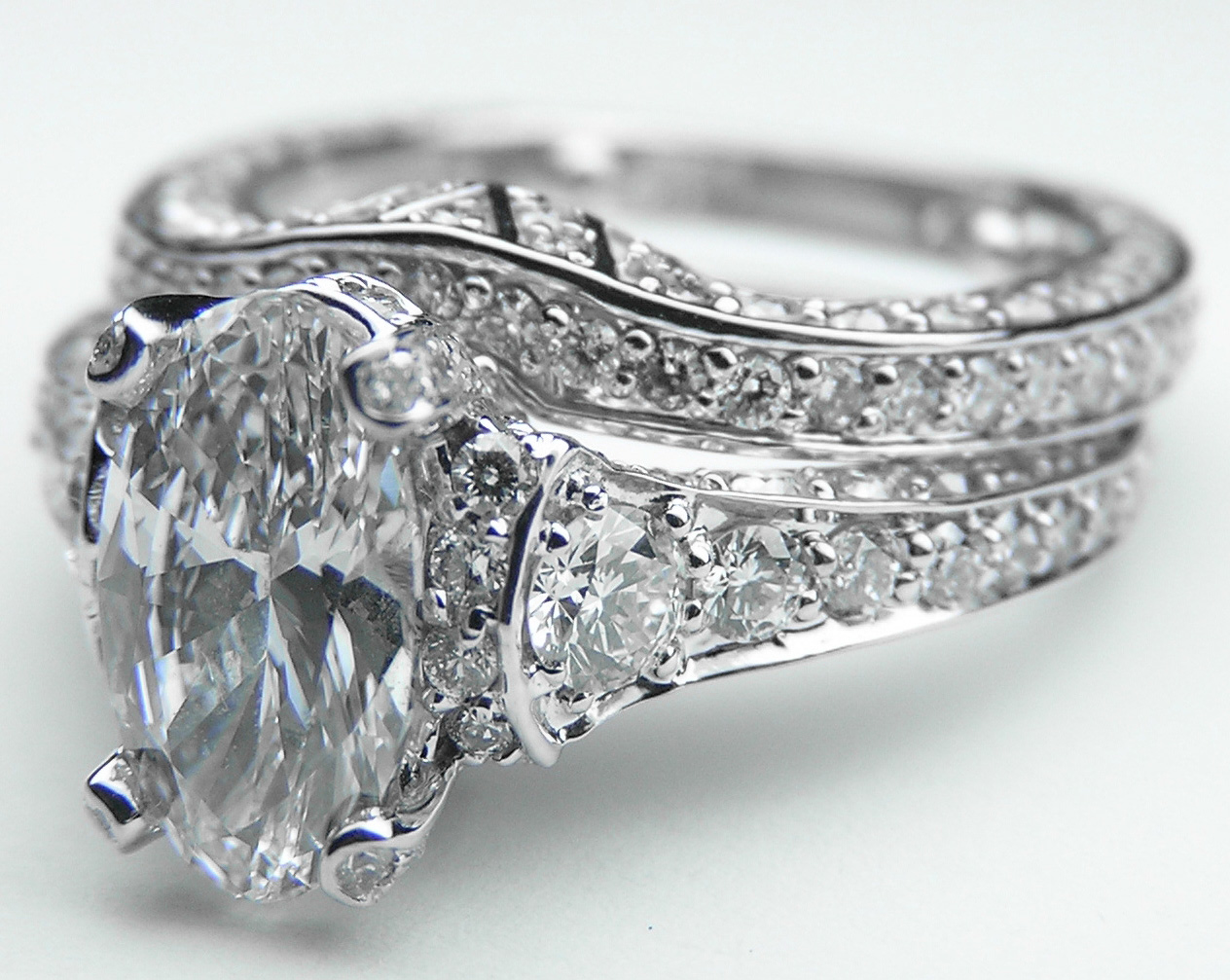 Engagement Ring Large Oval Diamond Cathedral Graduated Pave Bridal Set In 14K White Gold