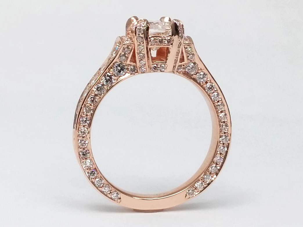 Large Radiant Cut Diamond Cathedral Graduated Pave Engagement Ring 1.25 tcw. In 14K Rose Gold