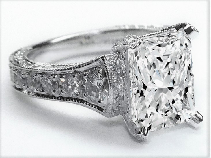 Large Radiant Diamond Cathedral Graduated Pave Engagement Ring 1.25 tcw. In 14K White Gold