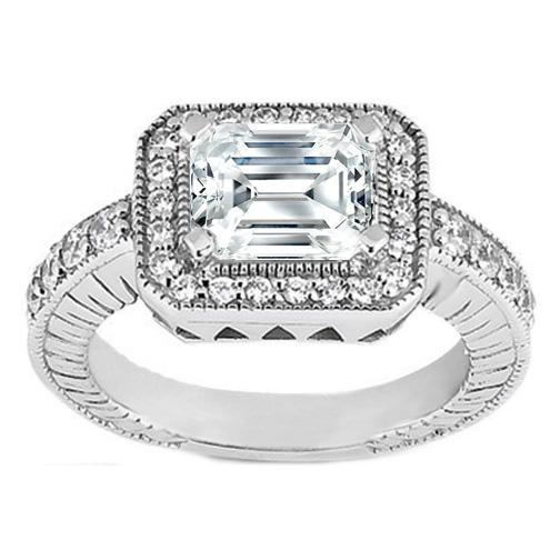 Emerald Cut Diamond Horizontal Engagement Ring 0.34 tcw. In 14K White Gold