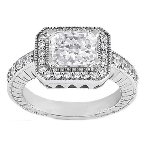 Radiant Cut Diamond Horizontal Engagement Ring 0.34 tcw. In 14K White Gold