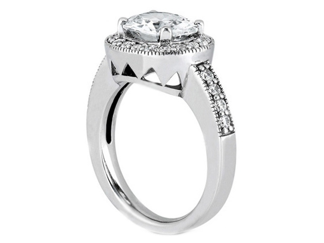 Oval Diamond Horizontal Engagement Ring Halo Pave 0.30 tcw. In 14K White Gold
