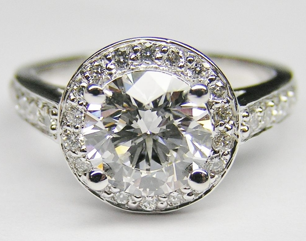 Diamond Halo Open Gallery Cathedral Engagement ring in 14K White Gold