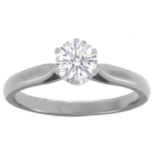 Six-Claw Scroll Solitaire Diamond Engagement Ring In Platinum