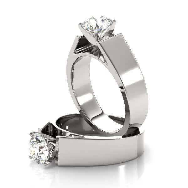 Wide Band Classic Solitaire Cathedral Engagement Ring