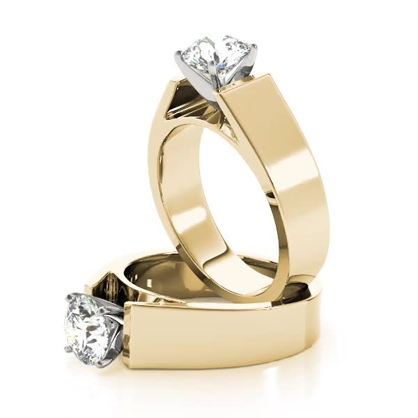 Wide Band Classic Solitaire Cathedral Engagement Ring Yellow Gold