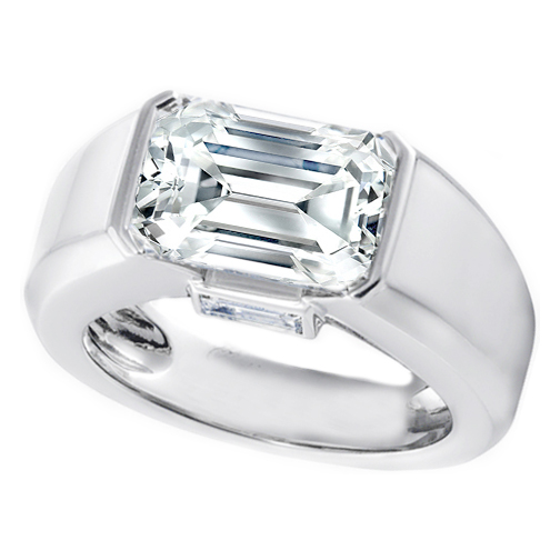 Horizontal Emerald Cut Diamond Engagement Ring with Baguette accents