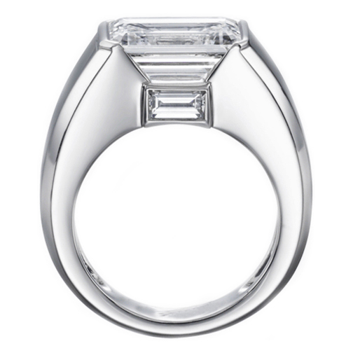 Horizontal Emerald Cut Diamond Engagement Ring with Baguette 0.20 tcw. In 14K White Gold