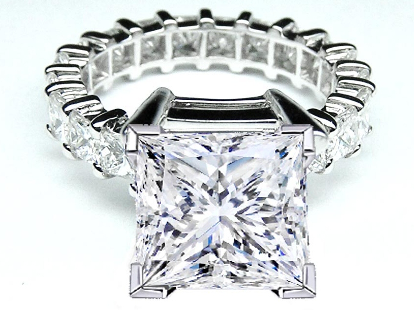 Princess Diamond Eternity engagement Ring Setting 3 tcw for a Large Square Diamond