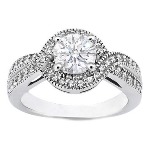 Intertwined Diamond Halo Engagement Ring 0.30 tcw. In 14K White Gold