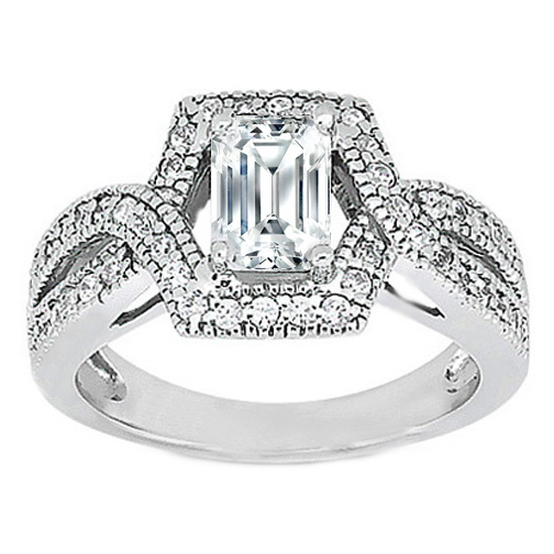 Emerald Cut Diamond Intertwined Halo Engagement Ring 0.44 tcw. In 14K White Gold