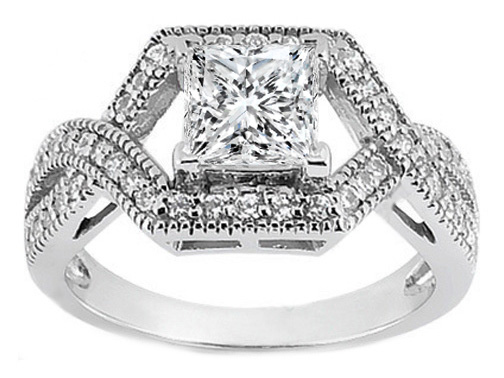 Princess Diamond Intertwined Halo Engagement Ring 0.39 tcw. In 14K White Gold