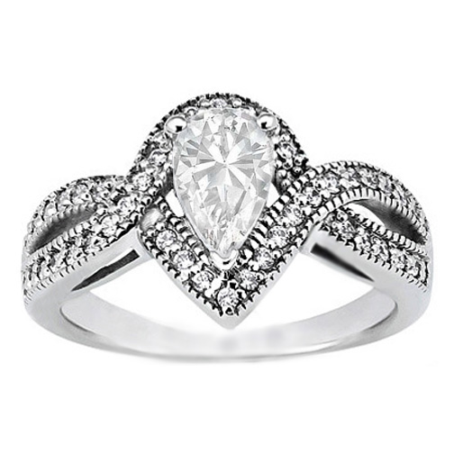 Pear Shaped Diamond Intertwined Halo Engagement Ring 0.24 tcw. In 14K White Gold