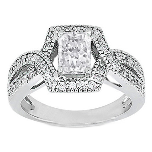 Radiant Diamond Intertwined Halo Engagement Ring 0.44 tcw. In 14K White Gold