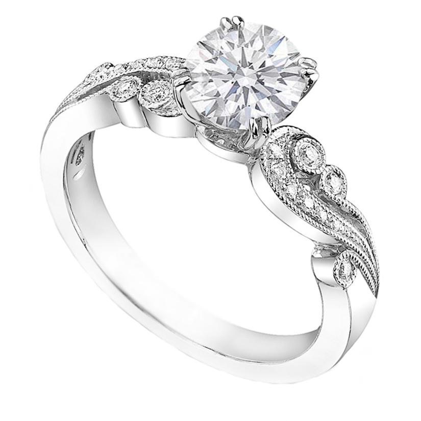 Vintage Diamond Vine Engagement Ring 0.15 tcw in 14K White Gold