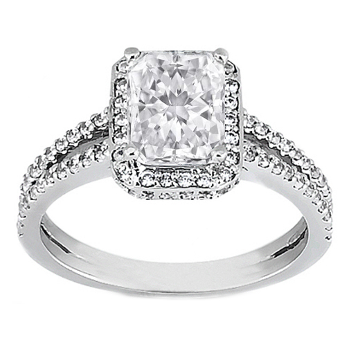 Engagement Ring Rectangular Radiant Diamond Split Band Halo Engagement Setti