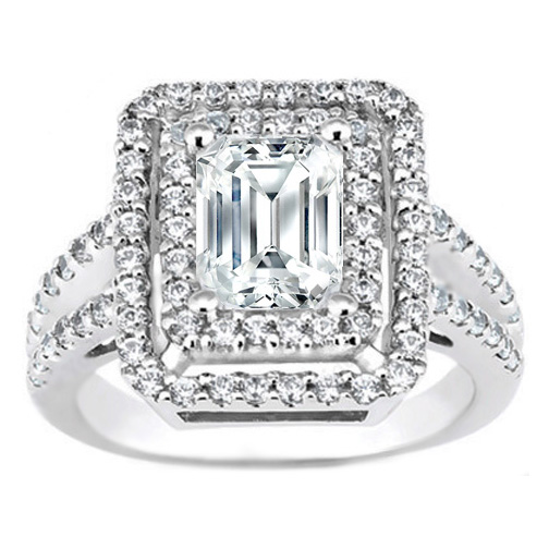 Engagement Ring -Emerald Cut Diamond Split Band Double Halo Engagement Ring  0.70 ct. in 14K White Gold-ES772EC