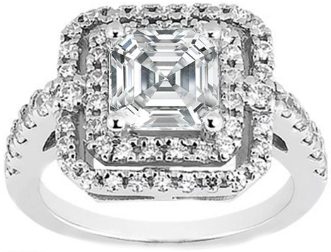 Petite Asscher Diamond Step Up Halo Engagement Ring Setting 0.66 ct.