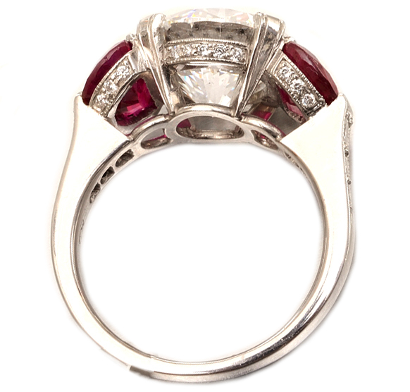 Engagement Ring Large Diamond Engagement Ring With Ruby