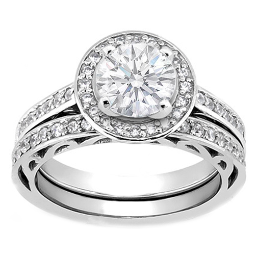 vintage style filigree wedding ring with round diamonds - Engagement Rings With Wedding Band