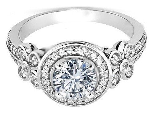 Petite Floral Diamond Engagement Ring in White Gold
