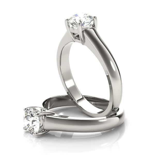 Platinum Solitaire Comfort Fit Engagement Ring