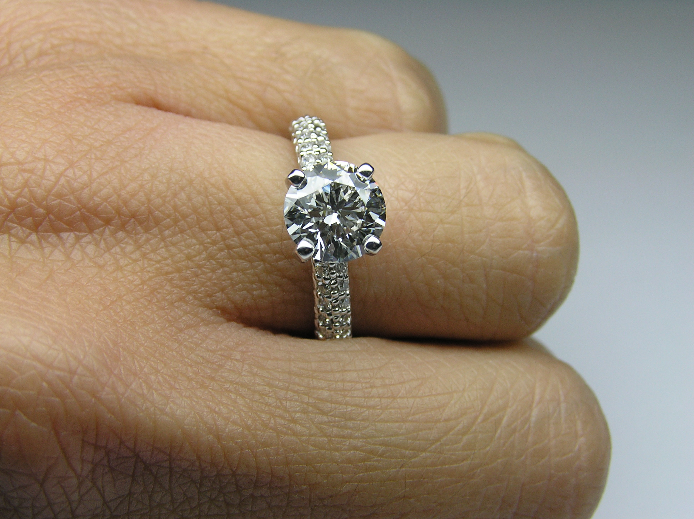 Engagement Ring Diamond Engagement Ring Double Row Pave