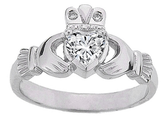 Heart Diamond Claddagh Ring in 14K White Gold