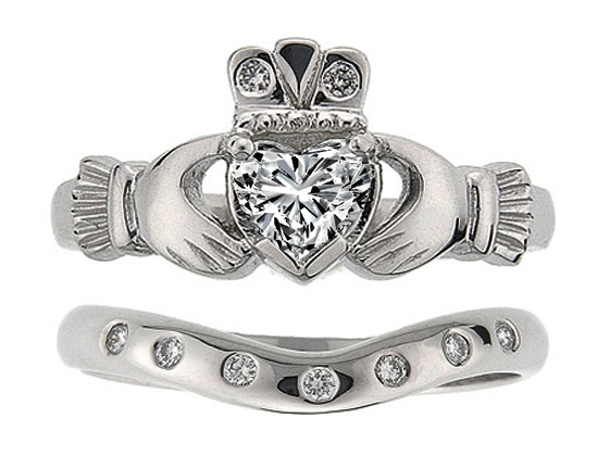 heart diamond claddagh engagement ring matching wedding band in 14k white gold - Claddagh Wedding Ring Sets
