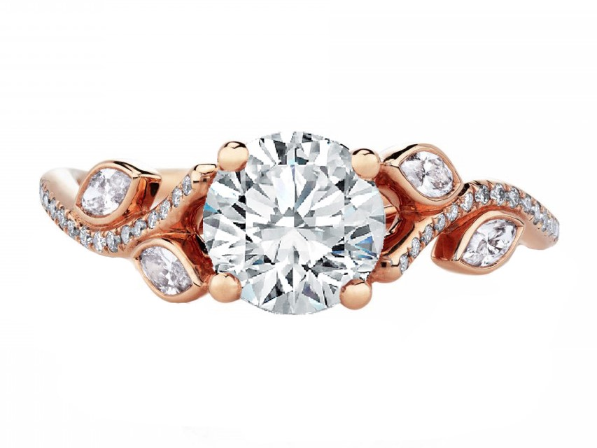 Adonis Floral Diamond Heirloom Vine Engagement Ring in Rose Gold