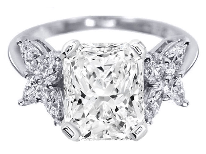Radiant Cut Diamond Engagement Ring Marquise Petals in 14K White Gold