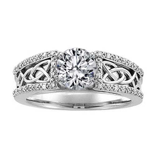 Celtic Knot Diamond Engagement Ring Pave Diamonds band in 14K White Gold