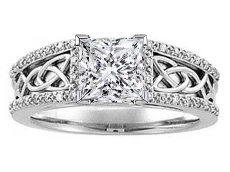 Celtic Knot Princess Diamond Engagement Ring, Diamond band, White Gold