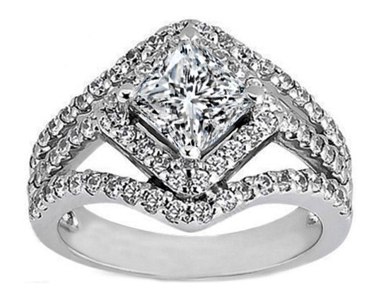 Princess Diamond Diagonal Halo Engagement Ring Three Row Shank 0.83 tcw.
