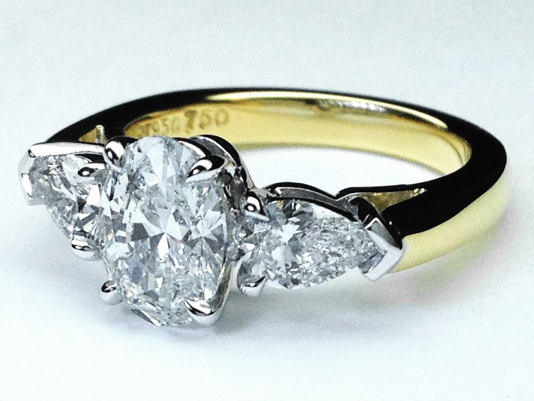 Oval Diamond Engagement Ring Pear Shape Side Stones 0.48 tcw in Two-Tone