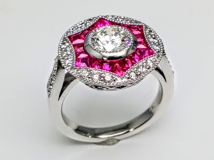 engagement ring art deco engagement ring pink sapphire. Black Bedroom Furniture Sets. Home Design Ideas