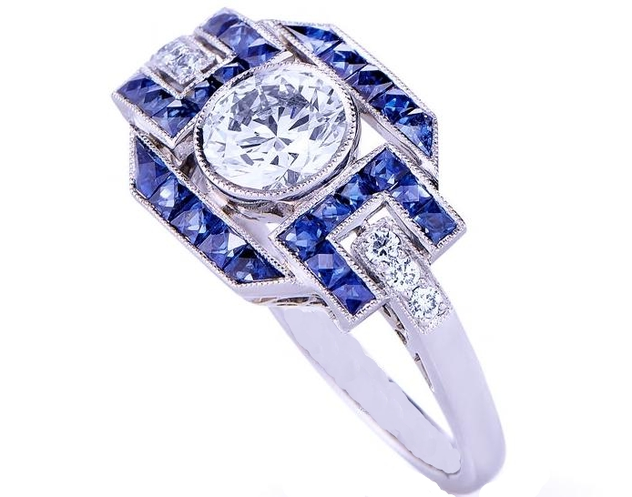 Art Deco Diamond Engagement Ring with blue sapphires and pave Diamonds in 14K White Gold