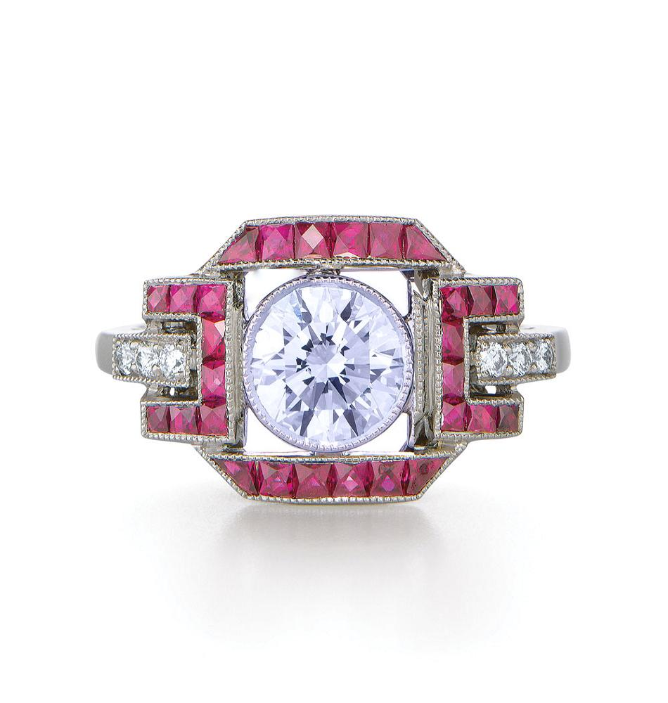 Art Deco Bezel Diamond Engagement Ring Pink Sapphires and Pave Diamonds in 14K White Gold