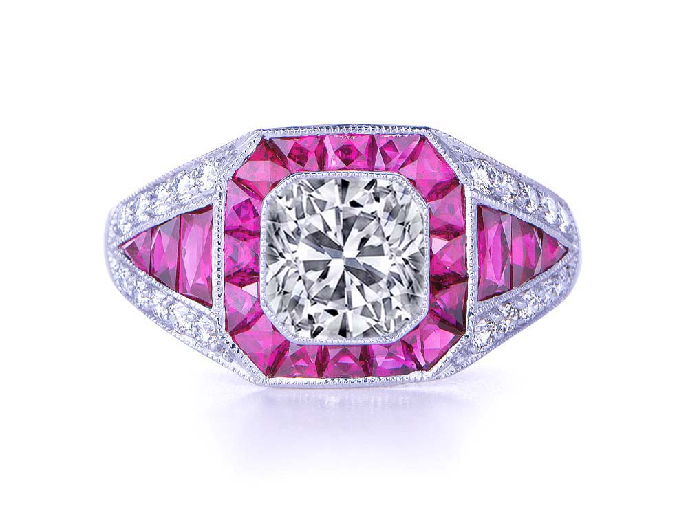 Cushion Diamond Vintage Art Deco Engagement Ring pink sapphires halo Graduated Diamond band in 14K White Gold