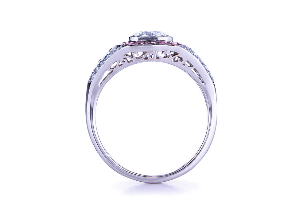 Asscher Diamond Vintage Art Deco Engagement Ring pink sapphires halo Graduated Diamond band in 14K White Gold