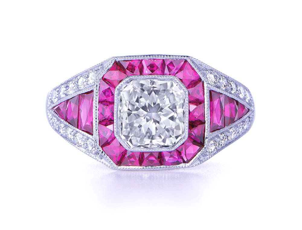 Radiant Diamond Vintage Art Deco Engagement Ring pink sapphires halo Graduated Diamond band in 14K White Gold