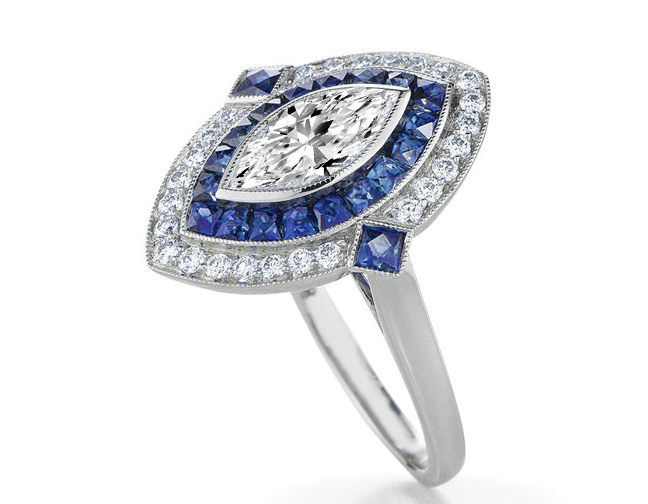 Engagement Ring Marquise Diamond Art Deco Engagement Ring With Blue Sapphire Diamond Halo Es832wg