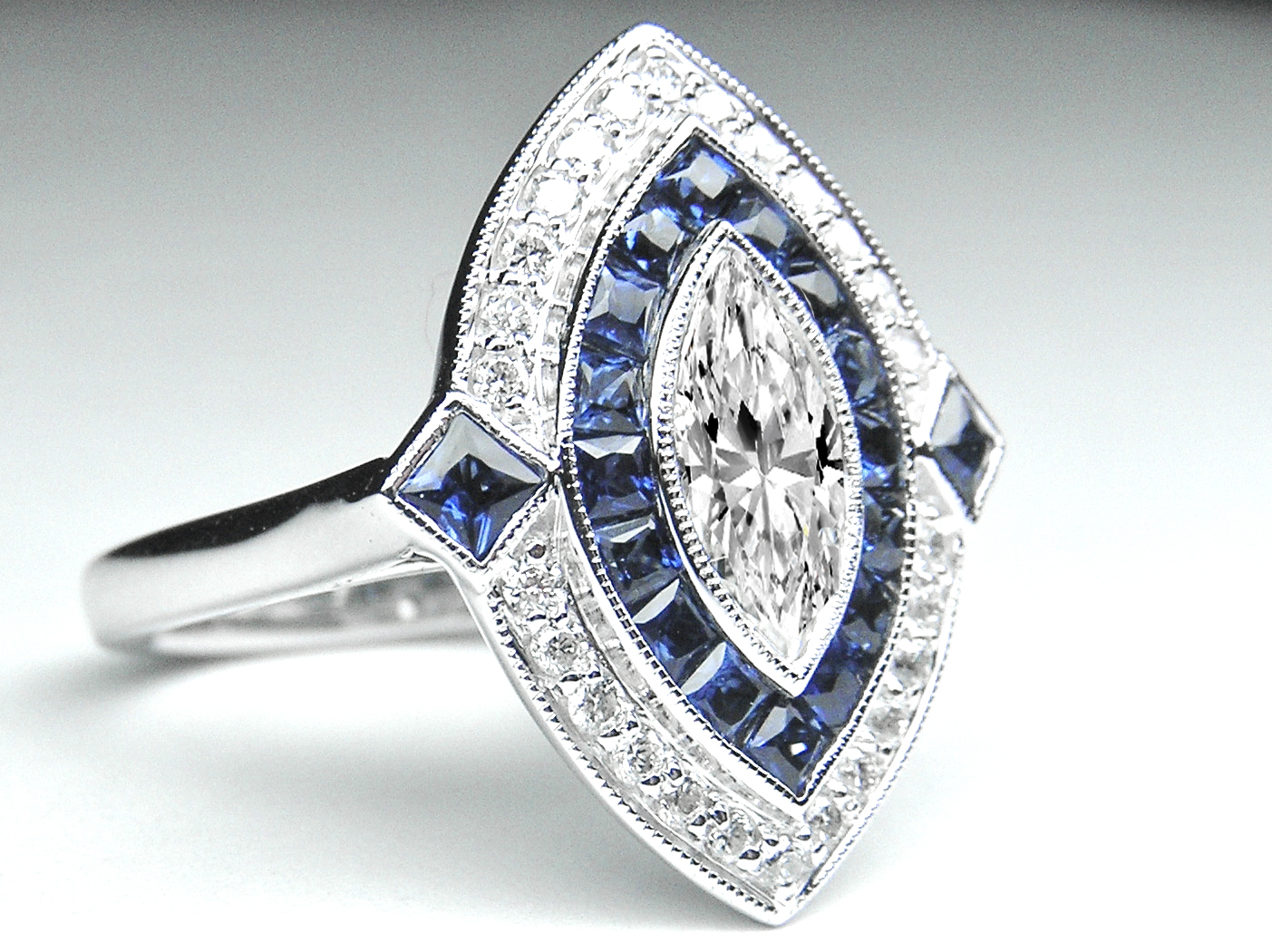 Marquise Diamond Art Deco Engagement Ring with Blue Sapphire & Diamond Halo in 14K White gold