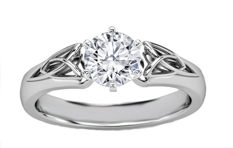 Triquetra Celtic Diamond Engagement Ring In 14k White Gold
