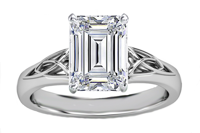 Emerald Cut Diamond Triquetra Celtic Engagement Ring in 14K White Gold