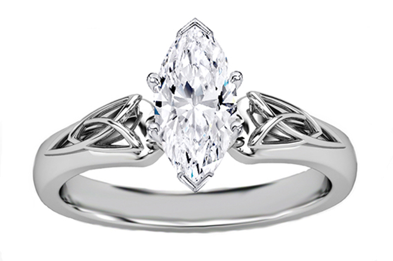 marquise diamond triquetra celtic engagement ring in 14k white gold - Marquise Wedding Ring